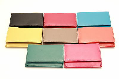 Womens Wallet Small Card Case Change Purse Button Snap Closed Genuine Leather