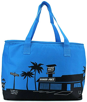 Trader Joe's Blue Insulated Tote Reusable Grocery Bag Extra Large, New