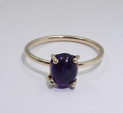FANCY SOLID 14K GOLD CABOCHON AMETHYST RING ~ sz 9.25 / 1.3 g