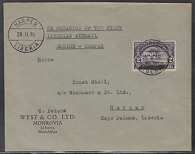 Liberia # C1 USED  Cover to Woermann Ship Line 28.II.36 First Day of Issue (FDC)