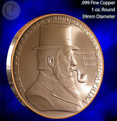 "2014 ""The Copper Kruger"" 1oz .999 Copper Round Limited & Rare"