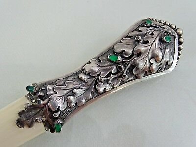 Magnificent Silver Letter Opener / Paper Knife Oak Leaf Acorn Real Gemstones
