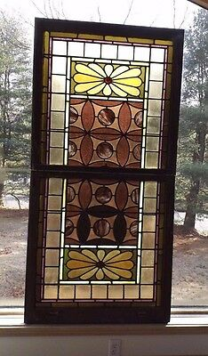 """Antique 1896 Victorian House Architectural Stained & Slag Glass Window 34"""" x 68"""""""