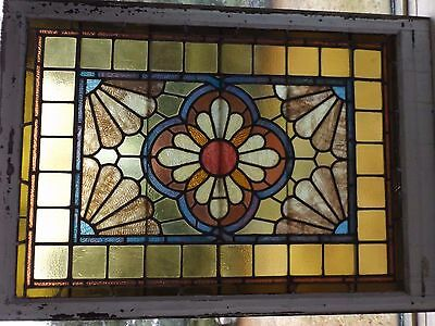 """Antique 1896 Victorian House Aesthetic Mvt Stained Slag Glass Window 34"""" x 48"""""""