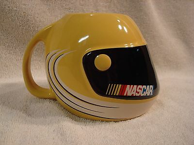 Nascar Yellow Helmet Shaped Ceramic CoffeeTea Mug 2003 Holds 12 oz. Car Races