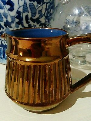 Welsh Lustre lovely example of a handsome bronze blue lined Craigie jug