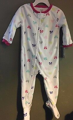 NWT 18 mo Carter's Girl's Infant Fleece Footed Blanket Sleeper Pink White Bows