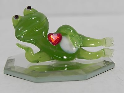 Glass Frog with heart Figurine on Mirror