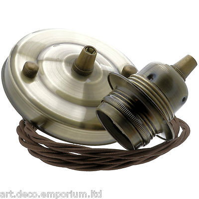 E27 New Antiqued Brass Effect Pendant Kit with Mocha Brown Braided Flex