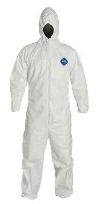 DuPont Tyvek TY127S Disposable Coverall with Hood Elastic Cuff White Medium 6 PK