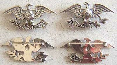 US Colonel Insignia Spanish American War Sterling  Silver pin back