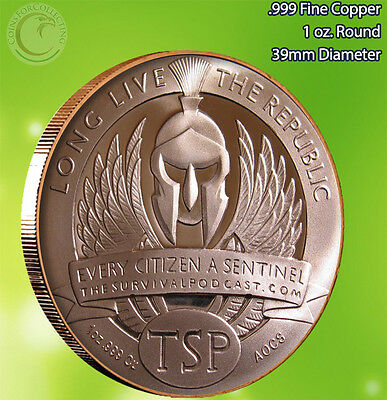 """""""The Sentinel"""" Long Live the Repulic 1oz .999 Copper Round Very Limited & Rare"""