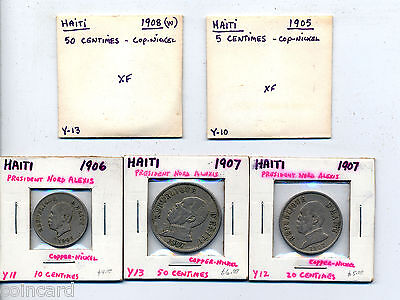 Haiti assorted coin lot of 5 pieces                                      LD-047