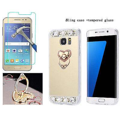 Luxury Mirror Case Cover +Ring Stand & Tempered Glass Screen for Samsung Galaxy