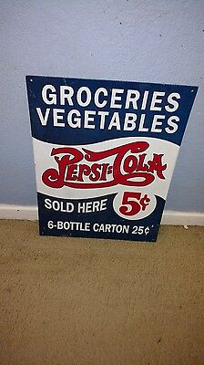 Pepsi Cola Sold Here Groceries Vegetables Tin Sign Vintage Style Home Decor