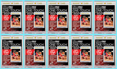 10 Ultra Pro ONE TOUCH MAGNETIC 35pt UV ROOKIE GOLD Trading Card Holder Case