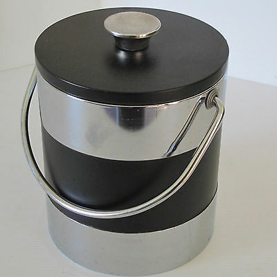 Black Vinyl & Chrome Ice Bucket with Handle & Insulated Liner, Japan c.1970s