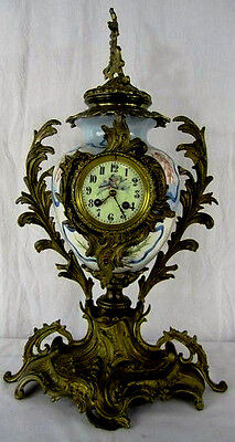 Beautiful 19th Century Antique French Bronze & Porcelain Clock, Hand Painted