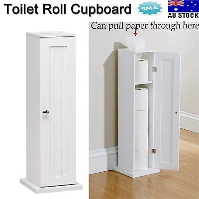 Toilet Roll Holder Cupboard White Free Standing Bathroom Storage Wooden Stylish