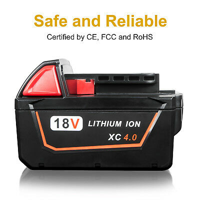 New 18V 4.0Ah Red Lithium Ion XC 4.0 Battery For Milwaukee M18 M18B4 48-11-1828