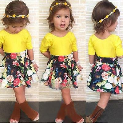 2PCS Toddler Baby Kid Girl Party Outfit Tops T-Shirt+Floral Tutu Skirt Set Dress