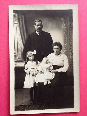Antique Postcard Social History Family With Baby Vintage Postcard