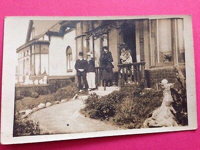 Antique Postcard Social History Wealthy Family  1900s Real Photo Postcard