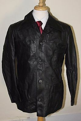 vintage MENS 70S RETRO BLACK REAL LEATHER SAFARI JACKET COAT BY SZ 42