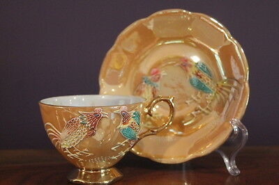 Shafford Japan Hand Decorated Moriage Rooster Luster Gold Tea Cup And Saucer