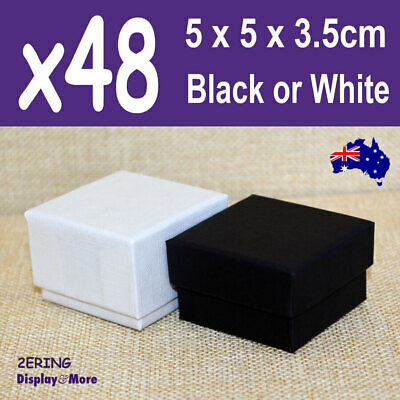 PREMIUM Quality 48X RING Gift Box-5x5cm | PLAIN Black or White | AUSSIE Seller