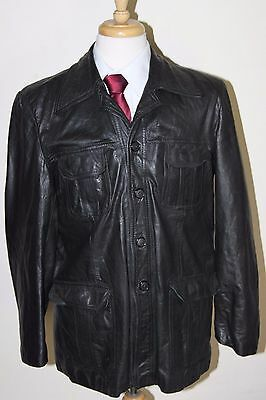 vintage MENS 70S RETRO BLACK REAL LEATHER SAFARI JACKET COAT SZ 42