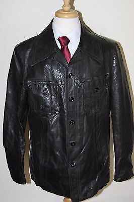 vintage MENS 70S RETRO BLACK REAL LEATHER SAFARI JACKET COAT SZ 46
