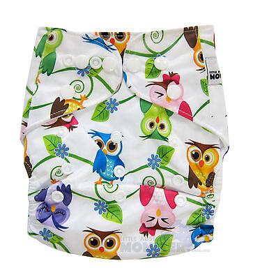 Modern Cloth Reusable Washable Baby Nappy Diaper & Insert, Colourful Owls