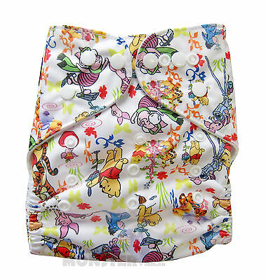 Modern Cloth Reusable Washable Baby Nappy Diaper & Insert, White Winne the Pooh