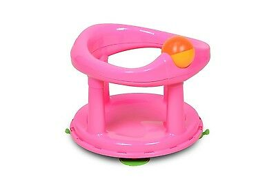 Safety Swivel Baby Bath Seat Rotating Support Bathing Swivel Chair Girl Pink New