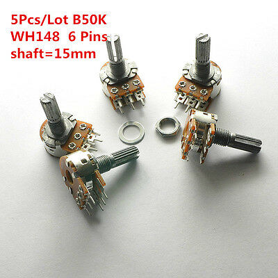 5Pcs B50K 50K WH148 15mm 6 Pin Dual Stereo Linear Potentiometer Double Rotary
