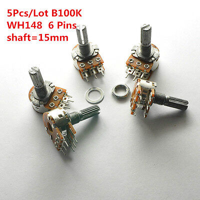 5Pcs B100K 100K WH148 15mm 6 Pin Dual Stereo Linear Potentiometer Double Rotary