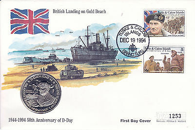 19 December 1994 D Day Gold Beach Commemorative Coin Limited Edition Cover Shs