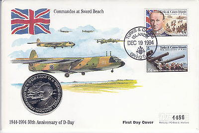 19 December 1994 D Day Sword Beach Commemorative Coin Limited Edition Cover Shs