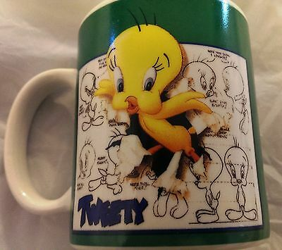Tweety Bird Looney Tunes Coffee Mug Vintage From 1995 Warner Bros. Studio Draw