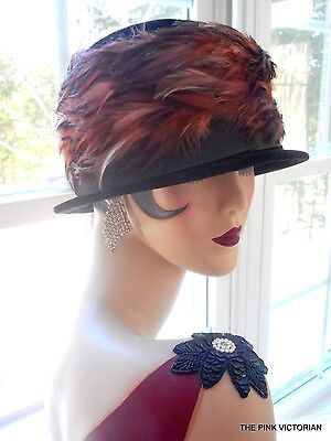 Dark CHOCOLATE brown VINTAGE LADIES cloche STYLE velor FEATHER hat UNION MADE