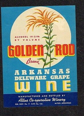 1940s Arkansas Altus Golden Rod Delaware Grape Wine Label Tavern Trove