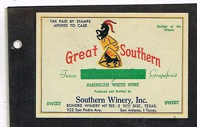 1940s TEXAS San Antonio Great Southern Texas Grapefruit Wine Label