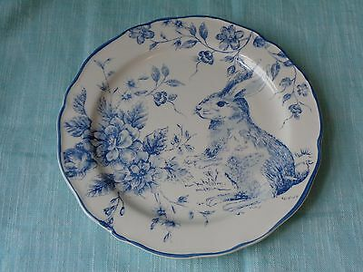 Maxcera  Blue White Toile Easter Bunny Rabbit Salad Plates Set Of 4 New