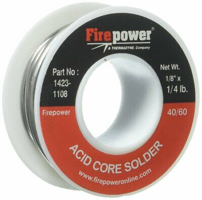 "Firepower 1423-1108 Acid Core Solder 40/60, 1/4 lb, 1/8"" for Non-Electrical Work"