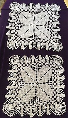 True Vintage Pair 2 Fancy White Square Matching Doilies 10""