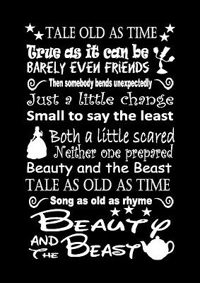 Disney beauty and the beast lyric inspired canvas or print poster black gift