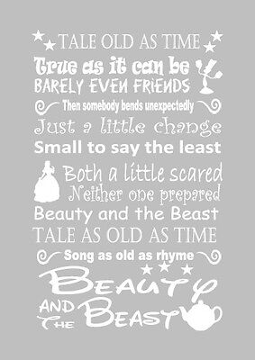 Disney beauty and the beast lyric inspired canvas or print grey gift home