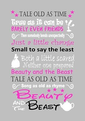 Disney beauty and the beast lyric inspired canvas or print grey pink gift home