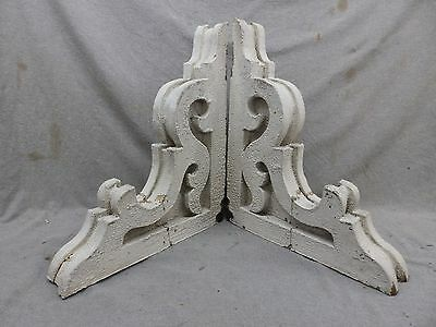 Antique Pair Wood Corbels Shabby Cottage Chic Vintage 210-17R